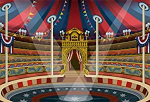 Circus Carnival Artful Festive Pattern Dancing Characters Toys Clowns Entertainment Background for Photography Kids Adult Photo Booth Video Shoot Vinyl Studio Props 10x12 FT Photography Backdrop