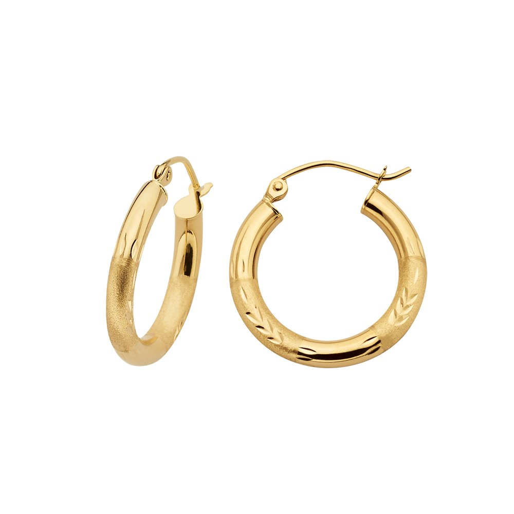 Textured Huggie Hoop Earrings in 14K Yellow Gold for Women and Girls