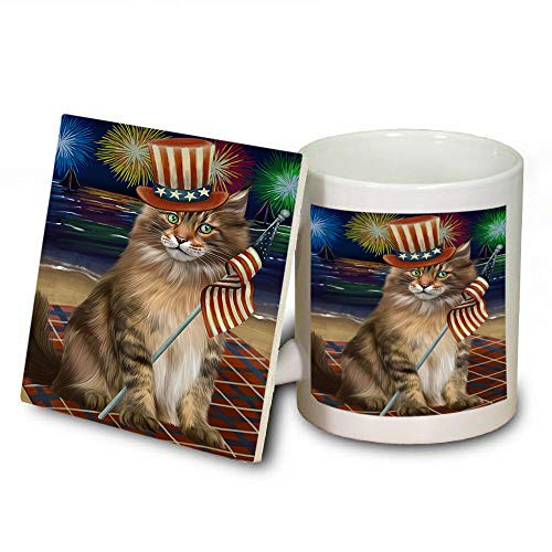 4th of July Independence Day Firework Maine Coon Cat Mug and Coaster Set MUC52438 (Safe Dishwasher Coasters Independence)