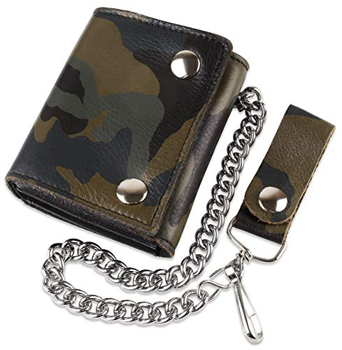 - RFID Blocking Men's Tri-fold Vintage Biker Cowhide Top Grain Leather Steel Chain Wallet,Snap closure, Made In USA,Camouflage,ocf315