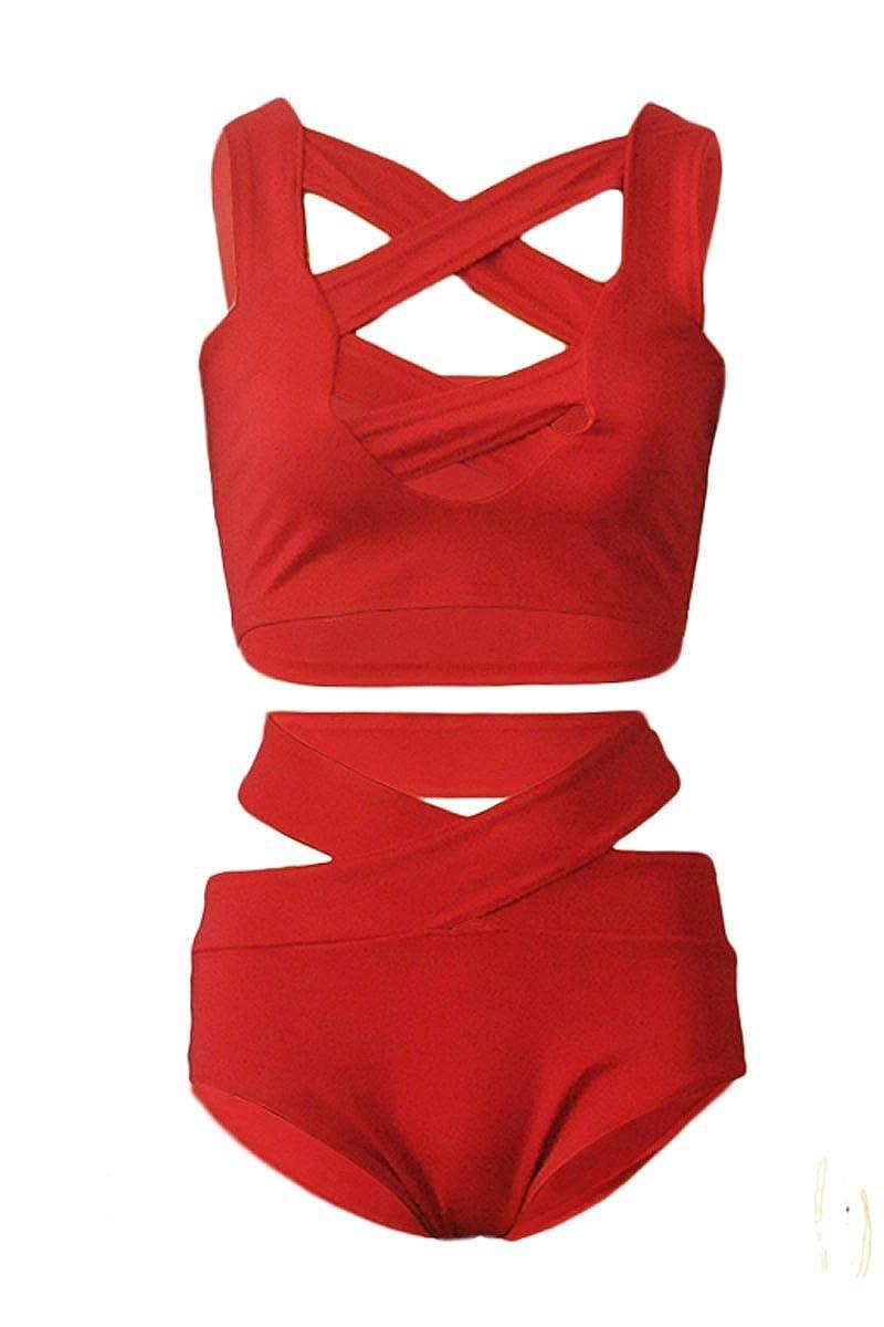 Prograce Women's Sexy Criss Cross High Waist Bandage 2PCS Bikini Set Swimsuit at Amazon Women's Clothing store