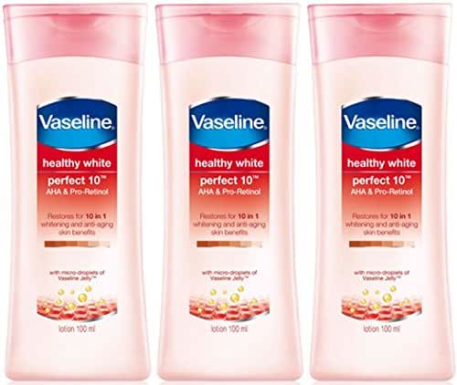 Vaseline Healthy White Perfect 10 - Pack 3 - AHA and Pro-Retinol Whitening and Anti-Ageing Skin benefits with micro droplets of Vaseline Jelly 100 ml X 3 bottles