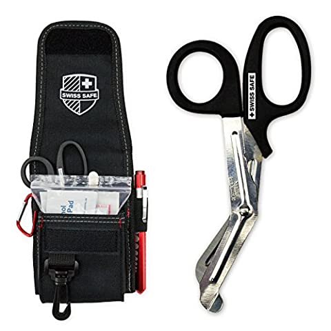 Medical EMT Shears/Scissors, Pupil Light, Tweezers with Tactical First Responder Tool Belt Holster + BONUS Essential Emergency First Aid - Sterile Scissors
