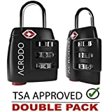 New Acrodo 2-Pack TSA Lock, with Search Alert Pop Up Indicator and Padlock Combination, for Suitcase and Luggage Approved for International Travel