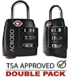 Acrodo TSA Approved All Metal International Travel Luggage Lock 2 Pack, with Search Alert Pop Up Indicator and Padlock Combination, for Suitcase and Baggage