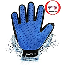 (Premium) Pet Grooming Glove & Chew Toy - Gentle Shedding Brush - Efficient Pet Hair Remover Mitt - Massage Tool with Enhanced Five Finger Design - Perfect for Dogs & Cats with Long & Short Fur