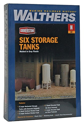 Walthers Cornerstone N Scale Modulars Storage Tanks pkg(6)