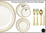 gold salad spoons - Royalty Settings Prestige Collection Hard Plastic Plates for Weddings for 120 Persons, Includes 120 Dinner Plates, 120 Salad Plates, 240 Forks, 120 Spoons, 120 Knives, Cream with Gold Rim
