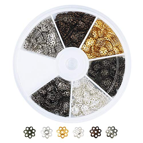 (Pandahall 1200pcs/box 6 Colors Iron Filigree Flower Bead Caps End Caps 6mm in Diameter for Jewelry Making with a 6-Grid Container)