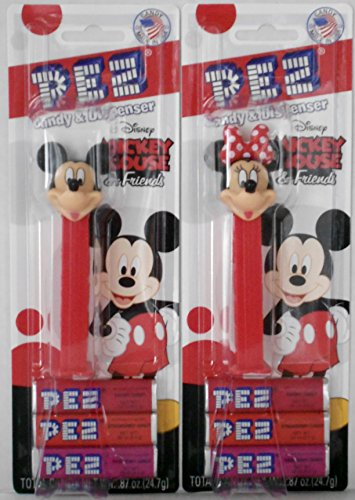 Mickey Mouse & Friends Mickey & Rock the Dots Minnie Mouse Pez Dispensers on Blister Cards with 3 Rolls of Candy Each (Pez Candy Inc)