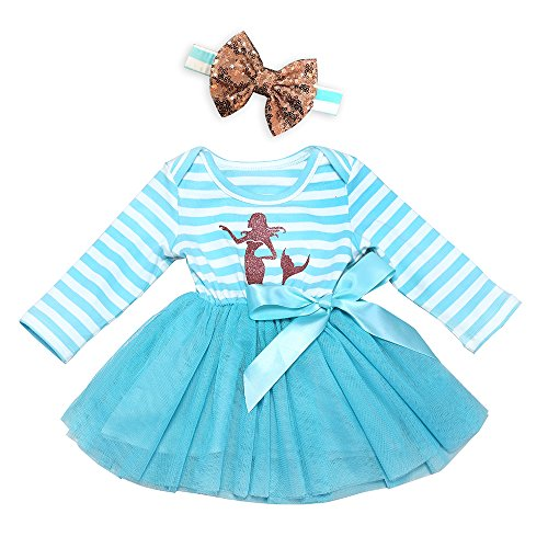 AILOM Infant Toddler Baby Girls Blue Long Sleeves Cotton Striped Tulle Tutu Dress With Gold Sequins Bowknot Headband (Blue, 18-24Months)