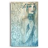 Mermaid by Artist Biljana Kroll 14''x23'' Planked Wood Sign Wall Decor Art