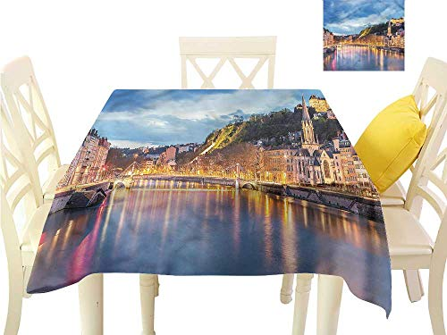 Davishouse Easy Care Tablecloth Saone River Lyon City Washable Polyester - Great for Buffet Table, Parties, Holiday Dinner, Wedding & More W36 x L36 ()