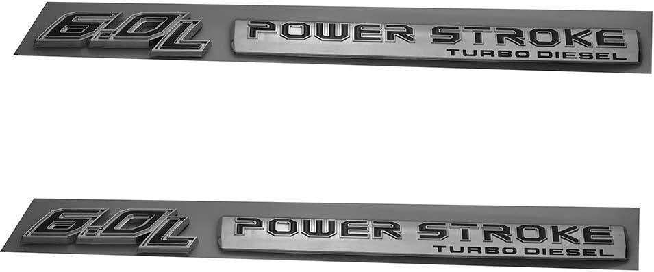 EmbRoom Pair Set 6.0L Power Stroke Turbo Diesel Emblems 3D Badge Sticker Compatible for 6.0 Power Stroke Chrome Black