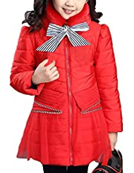 Vikoros Big Girls' Winter Thicker Down Coat With Fur High Collar