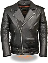 MILWAUKEE LEATHER Men's Classic Side Lace Police Style Motorcycle Jacket (Black, X-Sm