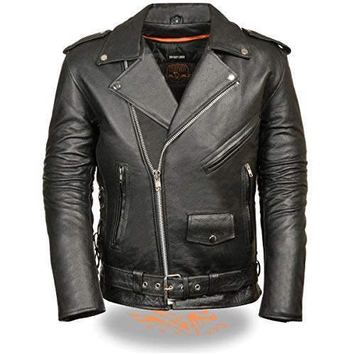 Classic Side Lace Motorcycle Jacket - Milwaukee Leather-SH1011-Men's Classic Side Lace Police Style Motorcycle Jacket - 4X