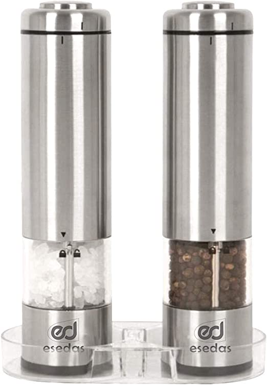 2 x Electric Salt And Pepper Mill Battery Operated Shaker Adjustable Grinder US