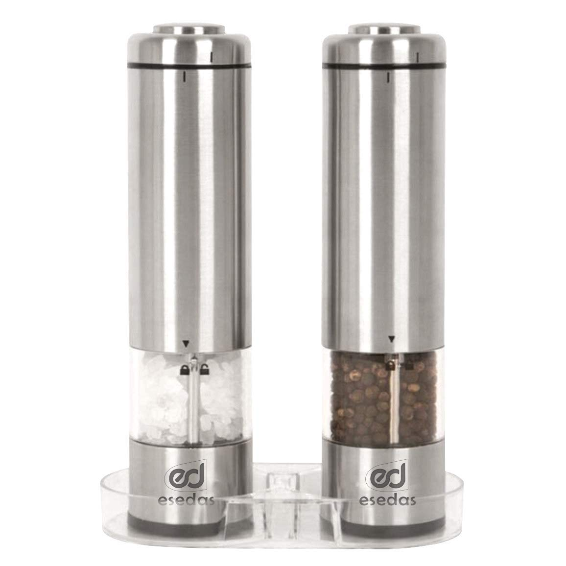 Electric Salt and Pepper Grinder Set (2) by Esedas - Battery Operated Stainless Steel Mill - Coarse Adjustable Mechanism - One Handed Shaker with LED Light and Rubber Lid for Cleaner Kitchen Table by Esedas
