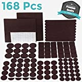 Best Chair Glides for Tile Floors PREMIUM Furniture Pads Set 168 Pcs Value Pack Brown - Heavy Duty Adhesive Felt Pads for Furniture Feet, Assorted Sizes with Noise Dampening Rubber Bumpers. Floor Protectors for Hardwood & Laminate