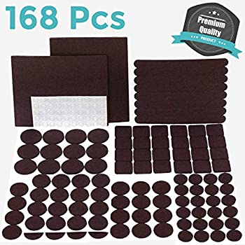 PREMIUM Furniture Pads Set 168 Pcs Value Pack Brown - Heavy Duty Adhesive Felt Pads for Furniture Feet, Assorted Sizes with Noise Dampening Rubber Bumpers. Floor Protectors for Hardwood & Laminate