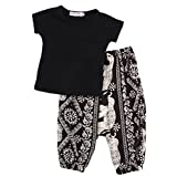 2Pcs Baby Girls T-shirt Tops + Harem Pants Clothes Outfits Set