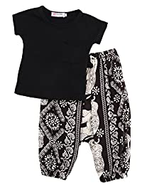 2Pcs Baby Girls T-shirt Tops + Harem Pants Clothes Outfits Set