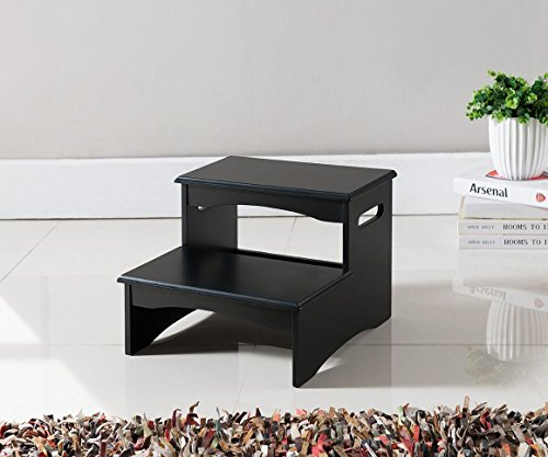 Kings Brand Furniture Black Finish Wood Bedroom Step Stool ()