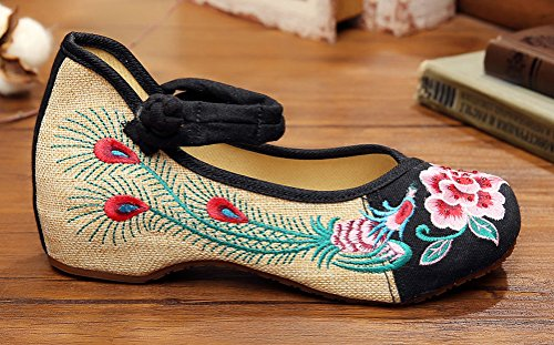 Peony Shoes Old Phoenix Embroidery Black AvaCostume Beijing Flats Chinese fqwzv