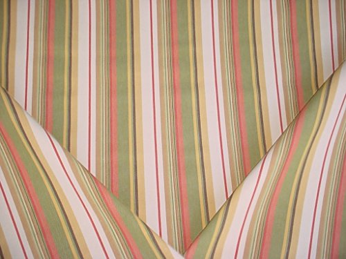 (Santee Fabrics Lotus in Olivette - Heavy Olive / Tea Rose Cotton Stripe Designer Upholstery Drapery Fabric - By the Yard)