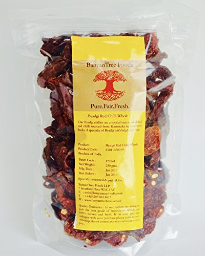 Red Chili-Indian Byadgi Whole/Dried (Medium-Hot) by BanyanTree Foods, 8.8 Oz. (Indian Chilis Whole)