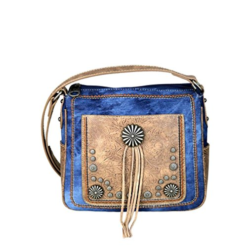 MW587-8360 Montana West Concho Denim Collection Crossbody Bag (Dark - Concho Collection