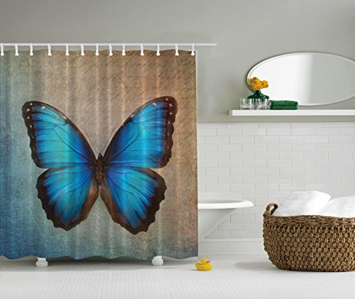 Beige Shower Curtain Butterfly Vintage British Grunge Victorian Blue Brown Ombre Design for Girls Nursery Bathroom Decor Digital Print Polyester Fabric Shower Curtain (Brown Blue Shower Curtains And)