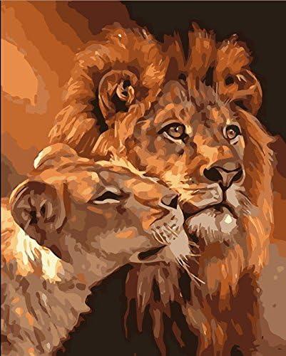 Fuumuui Lienzo de Bricolaje Regalo de Pintura al óleo para Adultos niños Pintura por número Kits Decoraciones para el hogar -Lions 16 * 20 Pulgadas