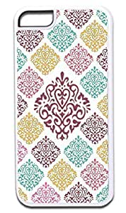 03-Large and Small Damasks-Pattern- Case for the APPLE IPHONE 5 ONLY!!! NOT COMPATIBLE WITH THE IPHONE 6 plus (5.5)!!!-Hard White Plastic Outer Case with Tough Black Rubber Lining by kobestar