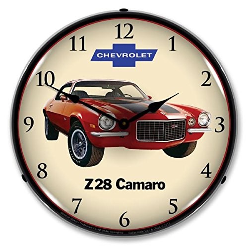 1972 Z28 Camaro Lighted Wall Clock 14x14 Inches 110v GM1701720