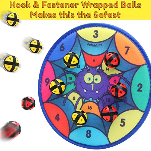 Spider Web Halloween Games (Fun Spider Dart Board Game with 6 Balls Using Hook-and-Loop Fasteners | Learn Numbers and Colors as You Play | Interactive Game and Safe for)