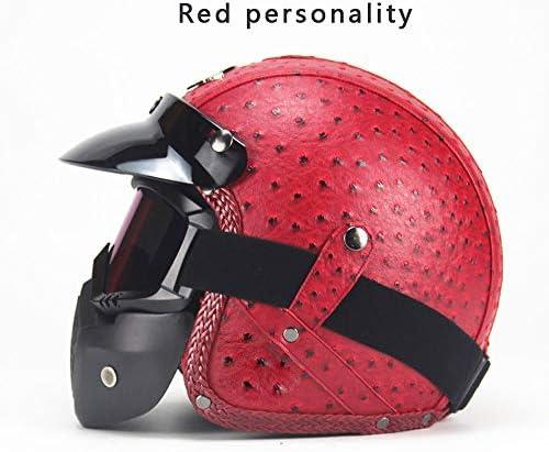 Four Seasonsヴィンテージヘルメット手作りパーソナリティオートバイモーターカー3/4レザーヘルメットハーフヘルメット男性と女性のモデル,C,M