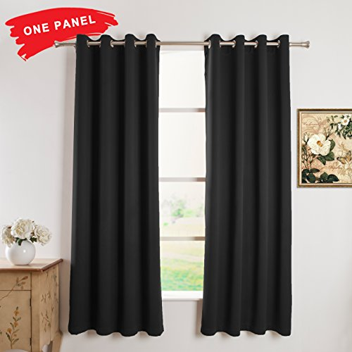 FLOWEROOM Blackout Curtains Thermal Insulated Draperies with Grommet for Bedroom, 52 by 95 inch, Black, 1 Panel