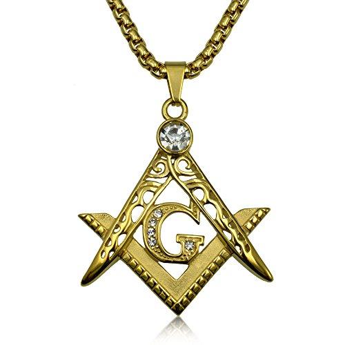 Ahappy Men stainless steel Freemasonry Masonic Mason Pendant necklace 19.68
