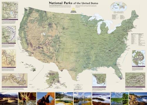U. S. National Parks Wall Map Yosemite Natl Park Map