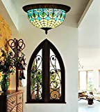 Makenier Vintage Tiffany Mediterranean Style Stained Glass Blue Peacock Feathers Flush Mount Ceiling Light Fixture - 12 Inches Lampshade