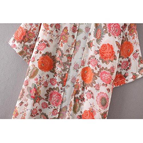 suelto floral de Top chal Koly kimono blusa XXXL cover print Cardigan Boho mujeres up YxxqHAa