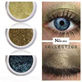 3 Eyeshadows: GOLD + OLIVE + BLUE 100% Organic Vegan Made in Canada BARE Natur-ALL MINERALS Eye Shadow Gluten & Bismuth FREE 100% Naturally Derived with mineral power instead of petrochemicals.