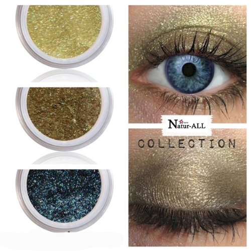 3 Eyeshadows: GOLD + OLIVE + BLUE 100% Organic Vegan Made in Canada BARE Natur-ALL MINERALS Eye Shadow Gluten & Bismuth FREE 100% Naturally Derived with mineral power instead of petrochemicals. www.barenatur-allminerals.com