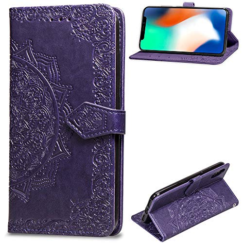 (Leather Wallet Case for iPhone X,[Stand Function] Ostop Embossed Mandala Flower PU Protective Shell Magnetic Flip Folio Cover with Card Slots,Cash Pocket,Wristlet-Purple)