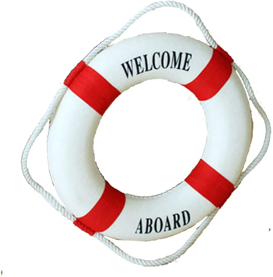 "MorroMorn Lifebuoy Wall Hanging Decor - Welcome Aboard Mediterranean Style Home Decoration (Red, 10"")"