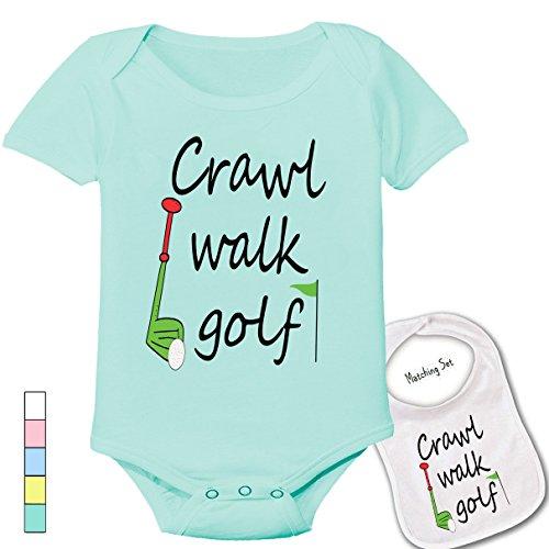""""""" Crawl Walk Golf """" Cute Boutique Baby bodysuit onesie & matching bib"""