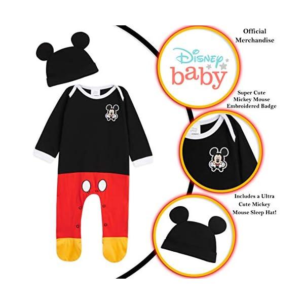 Disney Tutina Neonato di Topolino, Tutine Mickey Mouse da 0 a 24 Mesi, Pigiama Intero Bambina con Cappello, Pagliaccetto… 2