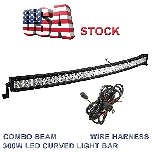 High Power 200w 20 Inch Jeep Accessories Led Light Bar For: Topcarlight 52inch 300w LED Curved Work Light Bar Combo